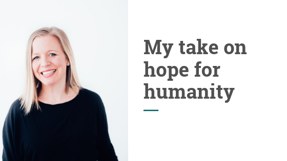 Blog header that says my take on hope for humanity
